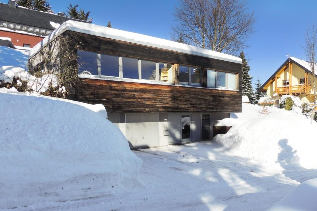 Außenansicht, Winter –Ferienhaus Fichtelberg